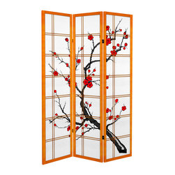 Oriental Furniture - 6 ft. Tall Canvas Cherry Blossom Room Divider - Honey - 3 Panels - Enjoy the beauty of cherry blossoms all year long with our new Canvas Cherry Blossom Room Divider! Printed to resemble a traditional shoji screen, this room divider is made of stretched canvas around a lightweight wooden frame. Durable and highly portable, this screen will add a classic Japanese element to the modern home or business.
