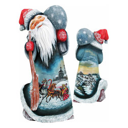 """Artistic Wood Carved Santa Claus Midnight Sleighride Sculpture - Measures 9""""H x 3.75""""L x 3.25""""W and weighs 2 lbs. G. DeBrekht fine art traditional, vintage style sculpted figures are delightful and imaginative. Each figurine is artistically hand painted with detailed scenes including classic Christmas art, winter wonderlands and the true meaning of Christmas, nativity art. In the spirit of giving G. DeBrekht holiday decor makes beautiful collectible Christmas and holiday gifts to share with loved ones. Every G. DeBrekht holiday decoration is an original work of art sure to be cherished as a family tradition and treasured by future generations. Some items may have slight variations of the decoration on the decor due to the hand painted nature of the product. Decorating your home for Christmas is a special time for families. With G. DeBrekht holiday home decor and decorations you can choose your style and create a true holiday gallery of art for your family to enjoy. All Masterpiece and Signature Masterpiece woodcarvings are individually hand numbered. The old world classic art details on the freehand painted sculptures include animals, nature, winter scenes, Santa Claus, nativity and more inspired by an old Russian art technique using painting mediums of watercolor, acrylic and oil combinations in the G. Debrekht unique painting style. Linden wood, which is light in color is used to carve these masterpieces. The wood varies slightly in color."""