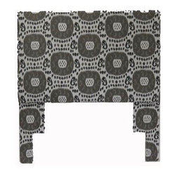 Robert Allen Ikat Headboard - Full-size headboard upholstered in Robert Allen indoor-outdoor ikat pattern, includes metal frame for easily installation.