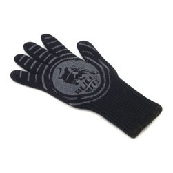 Bull Pit Mitt Ultimate BBQ Mitt - Fear no flame with the Bull Pit Mitt Ultimate BBQ Mitt. The superior comfort and safety of this glove are a result of quality craftsmanship. Its thick, maneuverable fiber-and-cotton design keeps your hand cool when handling piping-hot cast iron or steel skewers. The silicone-coated surface provides superior gripping and it works as both a right- and left-handed glove. When all is said and done and the glove is covered in char, just pop it into the washing machine for a convenient cleaning. This truly is the ultimate BBQ mitt.About Bull Outdoor ProductsBull Outdoor Products will change the way you barbecue. The award-winning grills and grill accessories are designed, engineered, and master-crafted with the finest materials available. All Bull Stainless Steel products are approved by the National Sanitation Foundation, which allows residential customers to cook on commercial-quality grills. Bull Outdoor Products Inc. pioneered the concept of outdoor barbecue islands, recognizing the need for backyard barbecue enthusiasts to bring their grilling talents to match those of professional chefs.