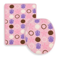 Aquatopia - Aquatopia Hippo Pink Memory Foam Bath Mat and Lid Cover Set - Add some fun to a kid's bathroom with this memory foam bath mat and lid cover set. The memory foam mat and lid cover are covered with soft, fleecy tops to provide comfort to both the tootsies and tushies.