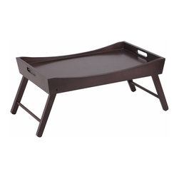 """Winsome Wood - Winsome Wood Benito Bed Tray w/ Curved Top & Foldable Legs in Dark Espresso - Serve your breakfast on this sleek looking featuring curved sides. Crafted of wood with a rich dark espresso stain, this bed tray has foldable legs for easy storage and handles to keep your treats steady. Open dimension 24.41""""L x 14.96""""W x 16""""H Folding size 22""""W x 14.9""""D x 2.9""""H Bed Tray (1)"""