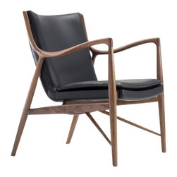 OneCollection - Finn Juhl 45 Chair - Walnut Frame, Black Leather - Finn Juhl was a pioneer in Danish design. In 1945 he designed this fantastic armchair, which was one of the first to break with tradition by freeing the seat and back from the frame. The result was an easy, elegant and tantalizing expression that came to characterize Finn Juhl and make him world famous as an unrivaled designer.