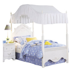 Standard Furniture - Standard Furniture Diana Canopy Bed in White - Diana gives your princess her own Victorian retreat. Wood products with simulated wood grain laminates. This group may contain plastic parts. Some pieces feature open panel construction with metal roller bearing glides. Other pieces feature folded case side construction with center-mounted runners. Mirrors are back mounted and reinforced. Brushed-white, brass color swing bail pulls and clear plastic knobs. Simulated, white wash wood grain color. Surfaces clean easily with a soft cloth.