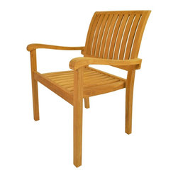 "Anderson Teak - Aspen Stackable Armchair - Our Teak Stacking Chair is a versatile design, which makes this most popular. Simple and Stylish for all your outdoor needs. Compliments all of our Teak Dining, Coffee and Folding Tables. Can easily stack four chairs high. It is a beautiful addition to your garden, backyard or patio furniture. Easy to storage, just stack it and you will save place. All furniture arrives at your home Fully Assembled in its ""Natural"" unfinished state. Cushion is optional and is being made by order. Fully Built & 4 pcs in a box."