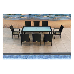 Urbana 9-Piece Modern Patio Dining Set, Beige Cushions