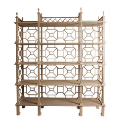 Laurent Outdoor Etagere - Kristen Buckingham's hand-carved teak etagere with Chinese lattice motif can be used indoors or out. Stunning!