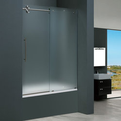Vigo - Vigo 60-inch Frameless Tub door 3/8in.  Frosted Glass Stainless Steel Hardware L - Make your bathroom an oasis with a Vigo frameless tub enclosure.