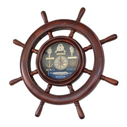 Handcrafted Nautical Decor - Wooden Ship Wheel Knot Clock 20'' - This   Wooden Ship Wheel Knot Clock 20'' is the perfect addition to  nautical themed bedroom. For those looking to spruce up their room, add  our nautical theme clock to compliment a bedroom set, mirror or other  nautical furniture. This clock displays the words ''ships times'' on the  face of the clock.----20'' Long x 2'' Wide x 20'' High----    Handcrafted from solid wood by our master artisans--    Clock is fully functional and easily mounts to any wall--    Eight spokes surround the ship wheel--    --    Clock features anchor, ship wheel, and several nautical knots--    --