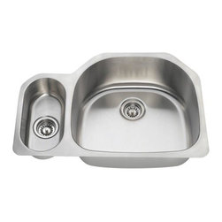 PolarisSinks - Polaris PR123 Offset Double Bowl Stainless Steel Sink - Stainless Steel is the most popular choice for today's kitchens due to its clean look and durability. The beautiful brushed satin finish helps to hide small scratches that may occur over the lifetime of the sink. Our Stainless Steel sinks are made from high quality 18 gauge steel. Most models are made of one piece construction that ensures the sturdiest kitchen sink you will find. Our sinks are made from 304 grade stainless steel that contains 18% chromium and 8-10% nickel and are guaranteed not to rust. Each sink is fully insulated and has a sound dampening pad. Our stainless steel sinks are backed by a Limited lifetime warranty. Each sink comes with a cardboard cutout template and mounting hardware.