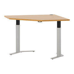 Hon - Systems Straight Corner Height Adjustable Table - Raise the bar in your workspace. Or lower it, depending on where you need it to be. This corner table is available in different widths and can go from a seat-height laptop station to stool — or even standing height with the push of a button via an internal motor.