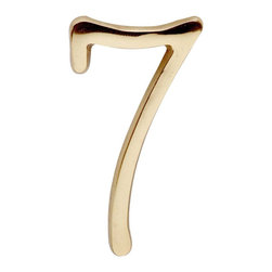 "Renovators Supply - House Numbers 3"" H Bright Brass # 7 Pin-Mount House Number - Petite door and house numbers in solid brass measure 3 in. high. RSF finish protects 20 to 40 times longer than standard lacquers.  No screws required as each number has back pins. Simply make holes onto which the number will be placed and secure with glue or epoxy as needed."