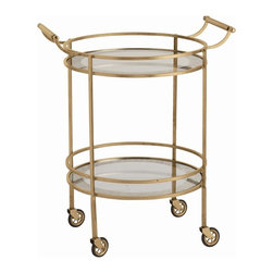 Arteriors - Arteriors 6752 Wade Bar Cart - Arteriors 6752 Wade Bar Cart made with Antique Brass/Antiqued Mirror Border.