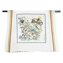 CATSTUDIO - Idaho State Dish Towel by Catstudio - This original design celebrates the beautiful state of Idaho. Terrell Swan-- one of the owners of Catstudio-- spent his summer on his grandparents ranch in eastern Idaho riding horses and eating spuds. He insisted that this design be a beauty to reflect Idaho's natural bounty-- it does! This design is silk screened, then framed with a hand embroidered border on a 100% cotton dish towel/ hand towel/ guest towel/ bar towel. Three stripes down both sides and hand dyed rick-rack at the top and bottom add a charming vintage touch. Delightfully presented in a reusable organdy pouch. Machine wash and dry.