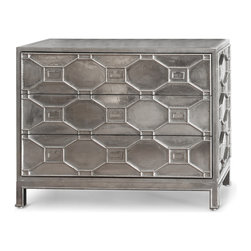 Kathy Kuo Home - Chatham Hollywood Regency Silver Lattice Metal Clad Three Drawer Dresser - This silver chest of drawers is covered in bright white metal with a lattice design. Shimmering, three-dimensional geometric detail grace the front of three generously-sized drawers with decorative nickel-plated brass pulls. Each drawer has a lacquered interior with full extension metal gliders, making this piece as functional as it is gorgeous.