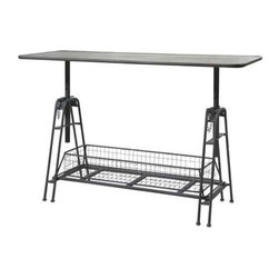 Henry Adjustable Metal Work Table - Sleek, with undeniable industrial influence, this adjustable table features a smooth work surface with a metal wire basket for storing supplies. Neither short on style nor functionality, this table has a variety of uses.