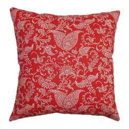 """The Pillow Collection - Aderyn Paisley Pillow Red Pink 18"""" x 18"""" - The Aderyn Paisley Pillow combines a lovely floral pattern in bold shades of pink, red and white. The paisley print brings a romantic and striking twist to accent pillow. This square pillow brings a lively atmosphere to your interiors. Place this 18"""" pillow anywhere inside your home where it needs a statement piece. Made of 100% soft cotton fabric, which is easy to clean and maintain. Hidden zipper closure for easy cover removal.  Knife edge finish on all four sides.  Reversible pillow with the same fabric on the back side.  Spot cleaning suggested."""