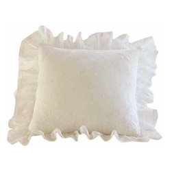 Taylor Linens - Daisy Dot Cream Ruffled Toss Pillow - What could be sweeter than daisies, polka dots and ruffles for your bed? Intricately embroidered on delicate linen and organdy, this creamy toss pillow will rise to the top of any bed. It's a great way to rest easy.