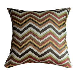 KH Window Fashions, Inc. - Chevron Pillow Cover in Spice- Orange, Green, Brown and Ivory, Without Insert - Chevron pillow in spice, orange, green, brown and ivory. Perfect to toss on your bed or sofa.