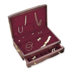 Reed & Barton - Elena Wood Jewelry Chest - As pretty as its name, this attractive, handcrafted chest features alid with pendant hooks and an elasticized pouch. Our high quality Reed And Barton Elena Jewelry Chest makes the perfect gift. There's also a drawerfor earrings and necklaces; well compartments; and ring trays - alllined in Dior red nylon velvet. Solid-brass drawer pulls, lid lift, andengravable nameplate; antiqued brass-finished side handles. Mahoganyfinish. 13 eeeeeeee x 9 x 4 eeeeeeee