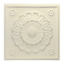"""Medallion Ceiling Tile - Sand - Perfect for both commercial and residential applications, these tiles are made from thick .03"""" vinyl plastic. Their lightweight yet durable construction make these tiles easy to install. Waterproof, these tiles are washable and won't stain due to humidity or mildew. A perfect choice for anyone wanting to add that designer touch at an amazing price."""