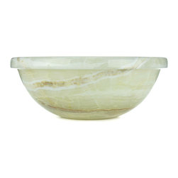 Sungmer Sinks™ - Vanilla Onyx™ Hand Carved Stone Sink - Vanilla Onyx™ is a delightful confection of vanilla ice-cream drizzled with caramel and chocolate syrup. Backlight this unusual stone and enjoy a show of demarcated layers of dreamy white chalcedony, accented by iron-oxide and carbon. This material is truly remarkable.