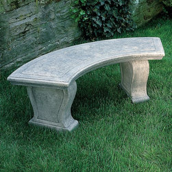 Campania International - Campania International Curved Leaf Cast Stone Backless Garden Bench - BE-23-AL - Shop for Benches from Hayneedle.com! About Campania InternationalEstablished in 1984 Campania International's reputation has been built on quality original products and service. Originally selling terra cotta planters Campania soon began to research and develop the design and manufacture of cast stone garden planters and ornaments. Campania is also an importer and wholesaler of garden products including polyethylene terra cotta glazed pottery cast iron and fiberglass planters as well as classic garden structures fountains and cast resin statuary.Campania Cast Stone: The ProcessThe creation of Campania's cast stone pieces begins and ends by hand. From the creation of an original design making of a mold pouring the cast stone application of the patina to the final packing of an order the process is both technical and artistic. As many as 30 pairs of hands are involved in the creation of each Campania piece in a labor intensive 15 step process.The process begins either with the creation of an original copyrighted design by Campania's artisans or an antique original. Antique originals will often require some restoration work which is also done in-house by expert craftsmen. Campania's mold making department will then begin a multi-step process to create a production mold which will properly replicate the detail and texture of the original piece. Depending on its size and complexity a mold can take as long as three months to complete. Campania creates in excess of 700 molds per year.After a mold is completed it is moved to the production area where a team individually hand pours the liquid cast stone mixture into the mold and employs special techniques to remove air bubbles. Campania carefully monitors the PSI of every piece. PSI (pounds per square inch) measures the strength of every piece to ensure durability. The PSI of Campania pieces is currently engineered at ap