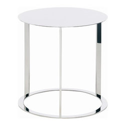 Nuevo - Vera End Table - Features: -Stainless steel frame.-Polished finish.-Distressed: No.Dimensions: -Dimensions: 21'' H x 15.75'' W x 15.75'' D.-Overall Product Weight: 14 lbs.
