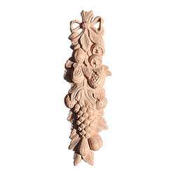 "Inviting Home - Monterey Wood Carving - Cherry (ON1CH/oy1) - wood carving in cherry 12""H x 3-3/4""W x 1""D Wood carvings are hand carved in deep relief design from premium selected North American hardwoods such as alder beech cherry hard maple red oak and white oak. They are triple sanded and ready to accept stain or paint. Hardwood carvings are perfect for wall applications finishing touches on the custom cabinets or creating a dramatic focal point on the fireplace mantel."