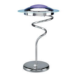 Lite Source - Lite Source LS-3599C/BLU Hurricane 1 Light Table Lamps in Chrome And Blue - Halogen Table Lamp, C/Blu Type Jcd/G8 75W
