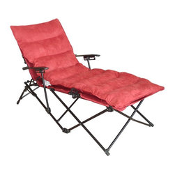 International Caravan - Folding Chaise Lounge with Micro Suede Cushion and Carry Bag - Cardinal Red Cush - Shop for Chaise Lounges from Hayneedle.com! The Folding Chaise Lounge with Micro Suede Cushion and Carry Bag - Cardinal Red Cushion is a portable piece that makes roughing it a little less rough. A solid aluminum frame supports the piece with a four-position recline feature. The cushion is made from a comfy cardinal red micro-suede. The whole piece easily collapses and stores in a matching red carrying bag and weighs a scant 27 lbs. making it perfect for camping trips outdoor festivals and more. About International Caravan Inc.For nearly half a century International Caravan Inc. has been scouring the world for unique furniture and home decor products to bring to the international market. Today International Caravan Inc. is ranked as one of the leading import and wholesale distributors in the nation. Their products can be found on the largest E-commerce websites as well as in America's leading retail stores.
