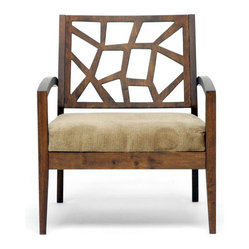 Wooden Modern Lounge Chair with Fabric Seat