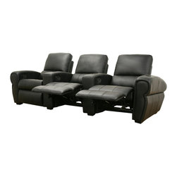 Baxton Studio - Baxton Studio Moondance Black Home Theater Seating Row of 3 - For an authentic cinema experience in the comfort of your own home, the Moondance Home Theater Seats offer just that and more.  Each chair is upholstered with top quality faux leather in an attractive matte black and stuffed with medium-firm high density foam for hours of TV and movie-viewing pleasure.  In addition, each chair is a manual recliner and, with the simple lift of a lever, you just might discover you would rather stay in than go out to see a film!  Armrests separate each chair (non-removable) and include built-in black plastic cup holders.  Looking deeper, the seats feature Leggett and Platt-style steel mechanisms and wooden frames.  Each seat will connect to the next with metal brackets, located on the sides of the seats where appropriate.  The chairs also have black wooden legs with non-marking feet.  Assembly is required.