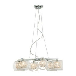 Wire and Glass Cylinder Possini Euro Design Chandelier -