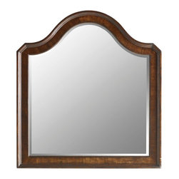 Stanley Furniture - Continental-Landscape Mirror - Gentle curves, refined edges, and beveled glass paired with rich mahogany and walnut veneers give this mirror timeworn charm. Distressing details and cross-grain quartered walnut inlays add visual texture.