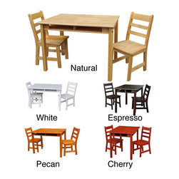 None - Childrens Rectangular Table/ Chair Set - Create a special haven for your little ones with this small childrens table and chair set. This miniature set is crafted from solid, durable wood and features a convenient, easy-access storage space for your kids art supplies, toys, or books.