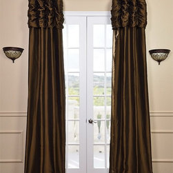 Ruched Chocolate Brown Thai Silk Curtain - We've taken our popular Thai Silk panels and added a ruched header valance creating the most luxurious, over the top style in window treatments out there. This style was designed and meant to be stationary and used as decorative panels to frame out your window.