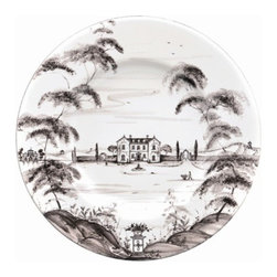 """Juliska - Juliska Country Estate Dinner Plate Flint Main House - Juliska Country Estate Dinner Plate Flint Main House. Welcome to the main house, where friends and family have gathered for generations and country food is raised to a point of fine art. A feast for the eyes and table, this stately dinner plate is a portrait of the inviting and bustling life you can explore on the estate and where you can always find something delectable bubbling away in the kitchen. Featuring: the Main House, Boathouse, and Apple Orchard. Dimensions: 11"""" W"""