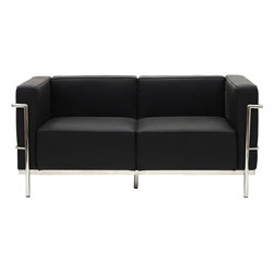 Modway Furniture - Modway Charles Grande Leather Loveseat in Black - Grande Leather Loveseat in Black belongs to Charles Collection by Modway Urban life has always a quandary for designers. While the torrent of external stimuli surrounds, the designer is vested with the task of introducing calm to the scene. From out of the surging wave of progress, the most talented can fashion a forcefield of tranquility. Perhaps the most telling aspect of the Charles series is how it painted the future world of progress. The coming technological era, like the externalized tubular steel frame, was intended to support and assist human endeavor. While the aesthetic rationalism of the padded leather seats foretold a period that would try to make sense of this growth. The result is an iconic sofa series that became the first to develop a new plan for modern living. If previous generations were interested in leaving the countryside for the cities, today it is very much the opposite. If given the choice, the younger generations would rather live freely while firmly seated in the clamorous heart of urbanism. The Charles series is the preferred choice for reception areas, living rooms, hotels, resorts, restaurants and other lounge spaces. Set Includes: One - Le Corbusier LC3 Loveseat Loveseat (1)