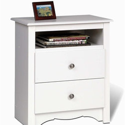 Prepac - Monterey Tall Nightstand w 2 Drawers - The Monterey nightstand in white comes with two full-sized drawers and an additional open storage space that is ideal for books and magazines.  Each drawer is accented with a solid brushed nickel knob. * Detailed with curved top edges, side moldings and scalloped base panel. One open shelf. Drawers run smoothly on metal glides with built-in safety stops. Clear lacquered real wood drawer sides. Solid dark pewter knobs. Durable laminate finish. CARB-compliant. Warranty: 5 years limited. Made from laminated composite woods with a sturdy MDF backer. Made in North America. Assembly required. Open shelf: 16.5 in. W x 12.5 in. D  x 5 in. H. Drawer: 16.5 in. W x 12.5 in. D  x 5 in. H. Overall: 23.25 in. W x 16 in. D x 28 in. HThe Monterey Tall 2-Drawer Nightstand with Open Shelf offers proof. Not stopping at two full-sized drawers, both primed for storing all your sundries, this bedside table also offers you an open shelf for those items you don't want totally hidden away. With its scalloped base panel and demure elegance, your bedroom will gain both storage space and a touch of elegant sophistication.
