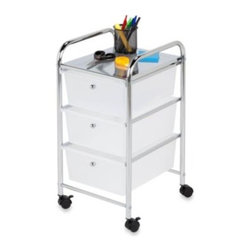 Honey-can-do - Honey-Can-Do Steel 3-Drawer Rolling Storage Cart - Use the Honey-Can-Do 3 Drawer Rolling Storage Cart to easily store and transport items in your home and office. Chrome-finished for sleek style and simple cleaning, the storage cart comes with three semitransparent white drawers.