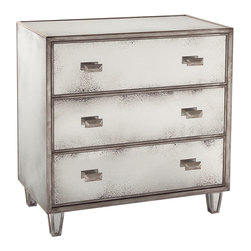 Kathy Kuo Home - Selena Hollywood Regency Antique Mirror Silver 3 Drawer Nightstand - Deco fans be warned, this three drawer dresser has many wonderful details to enjoy like Eglomise mirror trimmed in Parisian silver molding, a contemporary line and six lozenge shaped drawer pulls. Worthy of 1920s Paris.