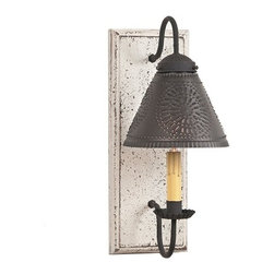 Irvin's Tinware - Crestwood Sconce in Americana Colors, Vintage White - The Crestwood Sconce is a sconce turned small wall light. With the addition of a punched tin shade, the ambiance factor of this beautiful sconce is second to none.