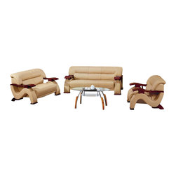 VIG Furniture - Beige Top-Grain Italian Leather Sofa Set With Mahogany Arms - Effortlessly create a perfectly coordinated living room with this splendid contemporary sofa set. Spread the pieces out to accommodate a large room, or place them closer together to create a more intimate space. This stylish leather-front sofa set features wooden arms and feet in mahogany finish, and includes a sofa, love seat and chair.