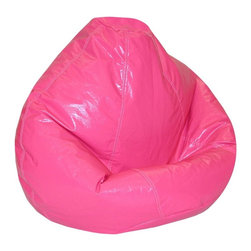 Elite Products - Wetlook Polystyrene Bean Bag - This bright magenta wetlook kid's large bean bag is constructed of durable polyester/cotton print fabric.  With pvc vinyl, polystyrene beads, this bean bag is recommended for children ages 4 to 10. Long lasting and durable. Double stitched with double overlap folded seam. Double zippered bottom for added security. Childproof safety lock zippers (pulls have been removed). Light, convenient to move and store. Easy to clean. Recommended seating age: 4 to 10 years. Warranty: One year limited. Made from PVC vinyl and polystyrene bead. Made in USA. No assembly required. 32 in. L x 30 in. W x 25 in. H (6 lbs.)