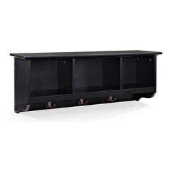 Crosley Furniture - Crosley Furniture Brennan Entryway Storage Shelf in Black - The Brennan Wall unit will bring sophistication and function to your entryway.  Features open shelves for storing hats and the like.  Four hooks are perfect for hanging a family of coats and jackets. Well suited for a number of decors and available in three finishes.