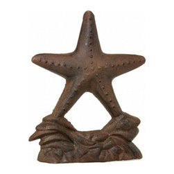 "Handcrafted Nautical Decor - Rustic Cast Iron Starfish Door Stop 11"" - Vintage Nautical Decor - This Rustic Cast Iron Starfish Door Stop 11"""" is the perfect beach accent for any home. This door stop constructed from cast iron is solid, and durable. Display this starfish door stopper to show visitors your affinity for the sea-faring lifestyle."