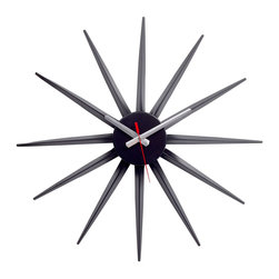 LexMod - Starflash Wall Clock in Black - Recreate reality and ride into new universes with this designer timepiece in black lacquered metal. From hidden depths and first inklings allow yourself to surge forth and navigate successful realms. Enjoy this George Nelson classic as you witness striking statements shooting forth with energy and charisma that draw attention to a cosmic event made public.
