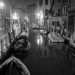 "Venice, Night, 16x16"" B&W Fine Art Photograph - Black and white fine art photograph of a canal in Venice at night. Available as a 16x16"" limited edition, fine art photograph. Unframed."