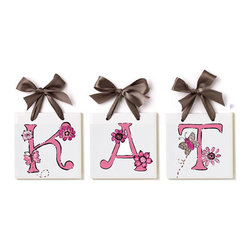 Jamie's Painting & Design - Hand Painted Name Tiles - Brown & Pink Floral - Hand Painted Name Tiles - Brown & Pink Floral